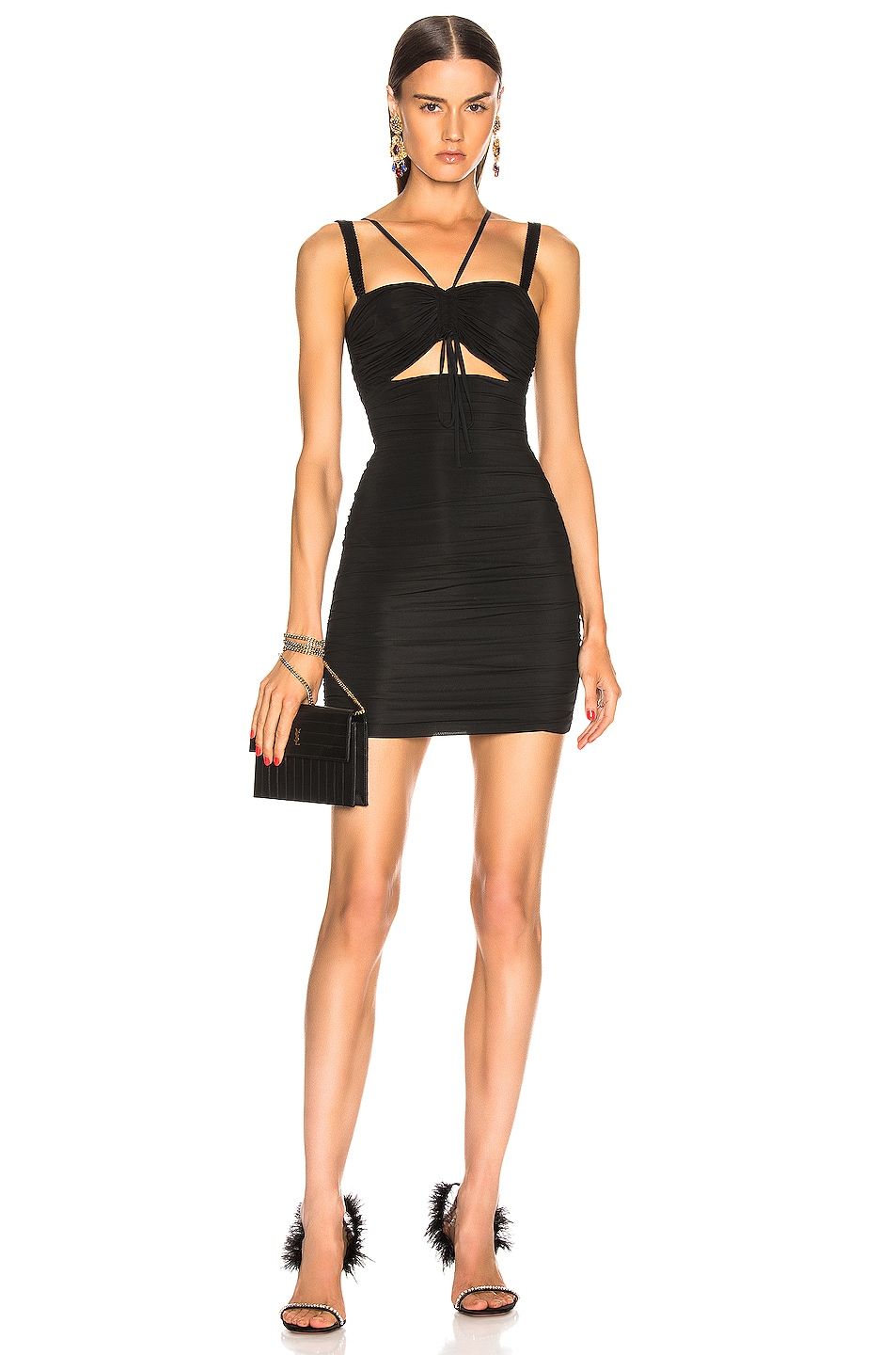 Image 1 of Dolce & Gabbana Cutout Mini Dress in Black