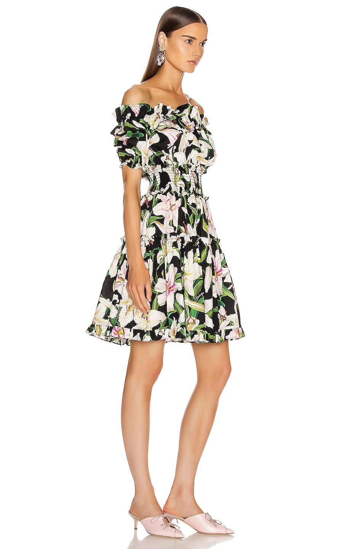 Image 2 of Dolce & Gabbana Floral Lilium Poplin Off the Shoulder Dress in Black