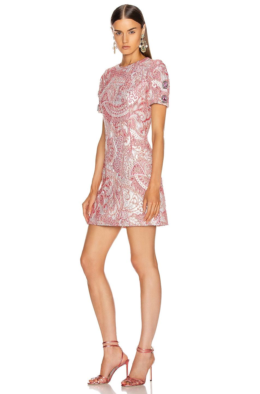 Image 1 of Dolce & Gabbana Short Sleeve Embellished Sleeve Dress in Pink & White