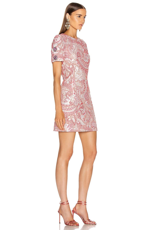 Image 3 of Dolce & Gabbana Short Sleeve Embellished Sleeve Dress in Pink & White