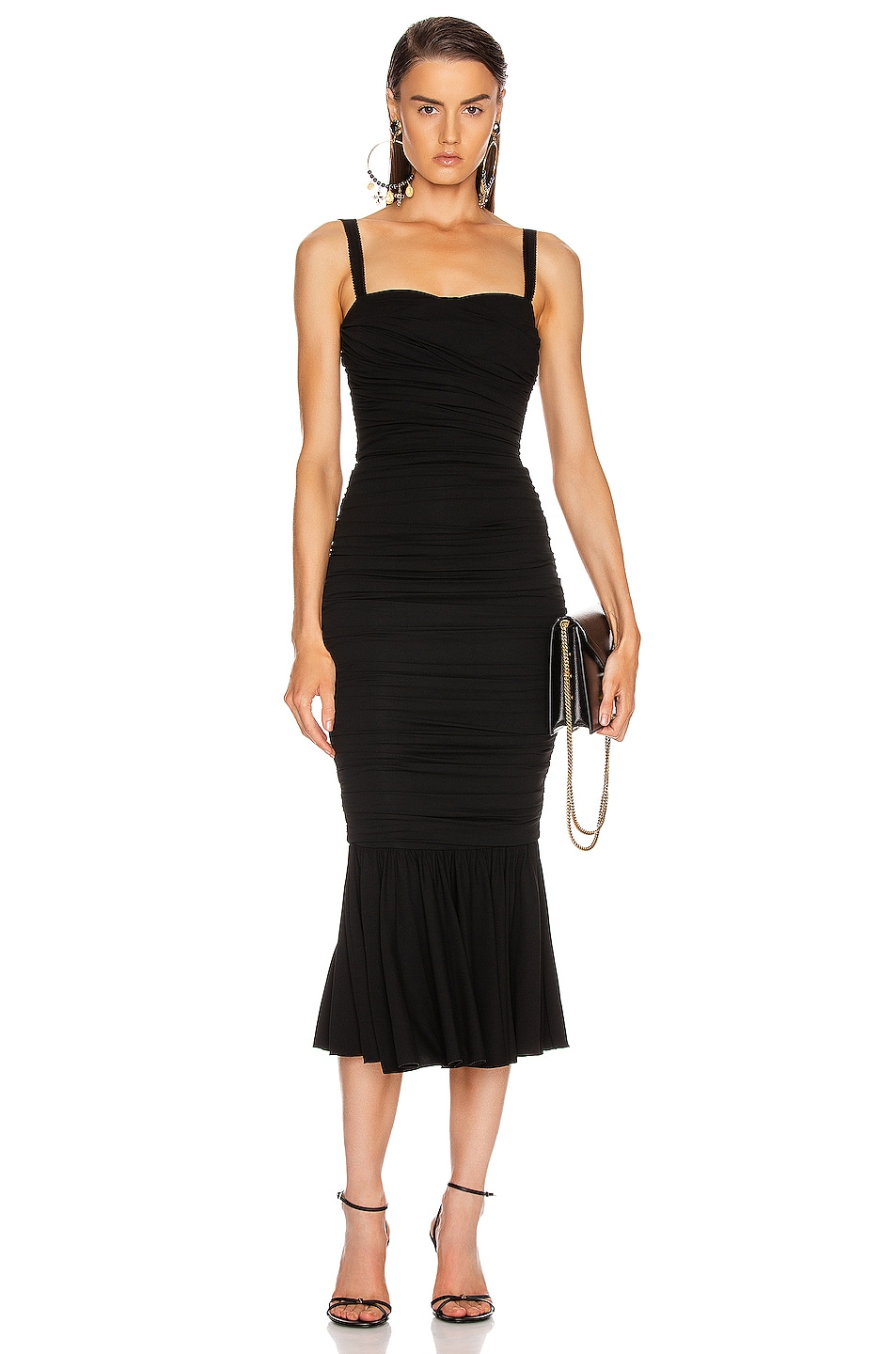 Image 1 of Dolce & Gabbana Ruched Flounce Dress in Black