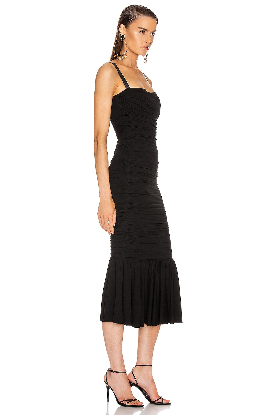 Image 2 of Dolce & Gabbana Ruched Flounce Dress in Black