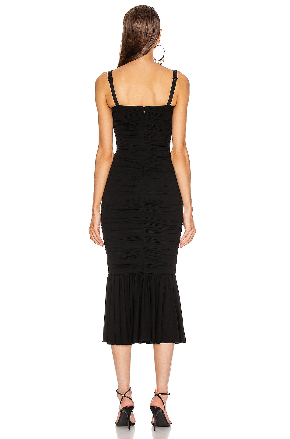Image 3 of Dolce & Gabbana Ruched Flounce Dress in Black