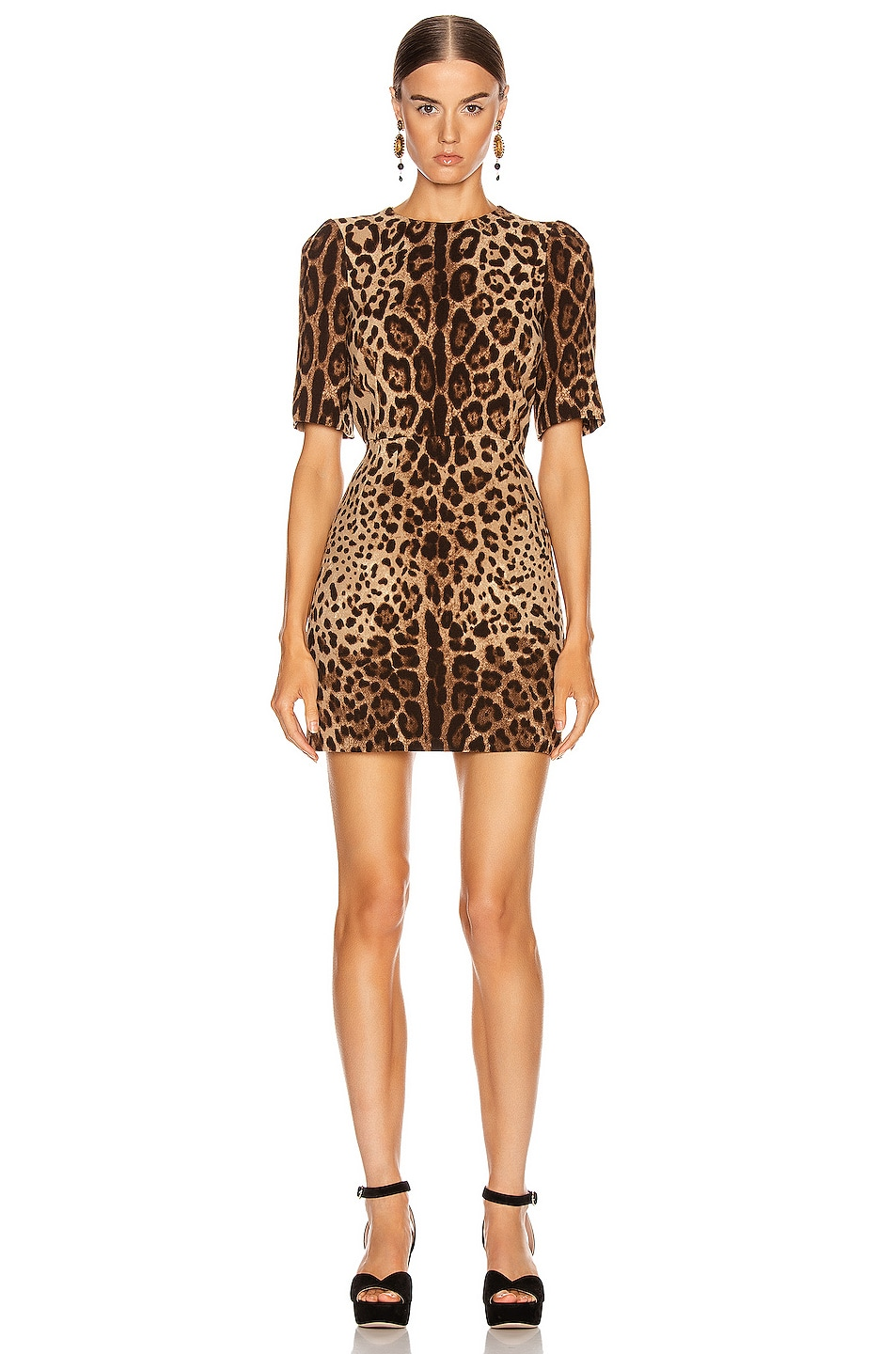 Image 1 of Dolce & Gabbana Simple Mini Dress in Leopard