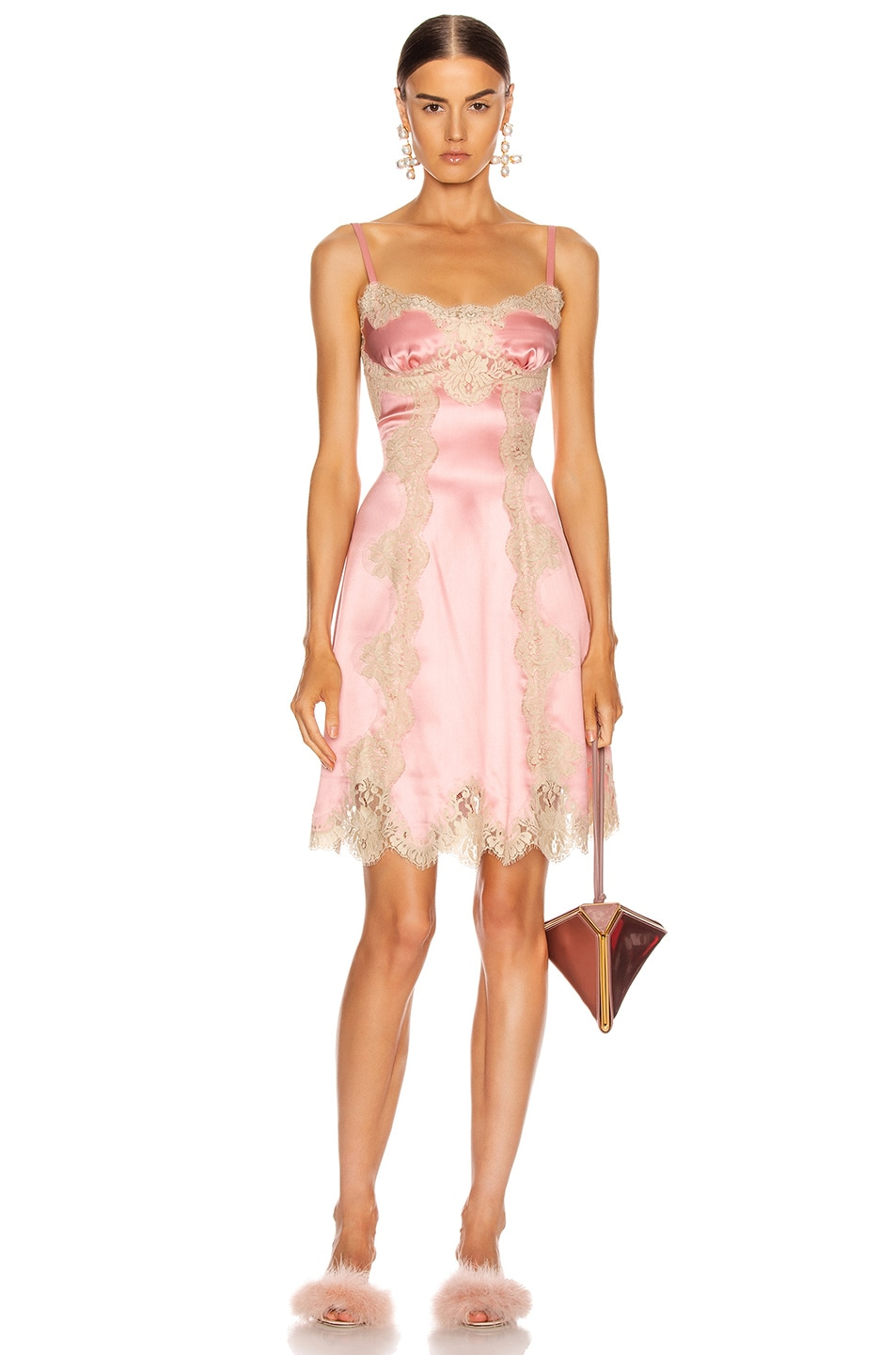 Image 1 of Dolce & Gabbana Satin Sleeveless Mini Dress in Pink