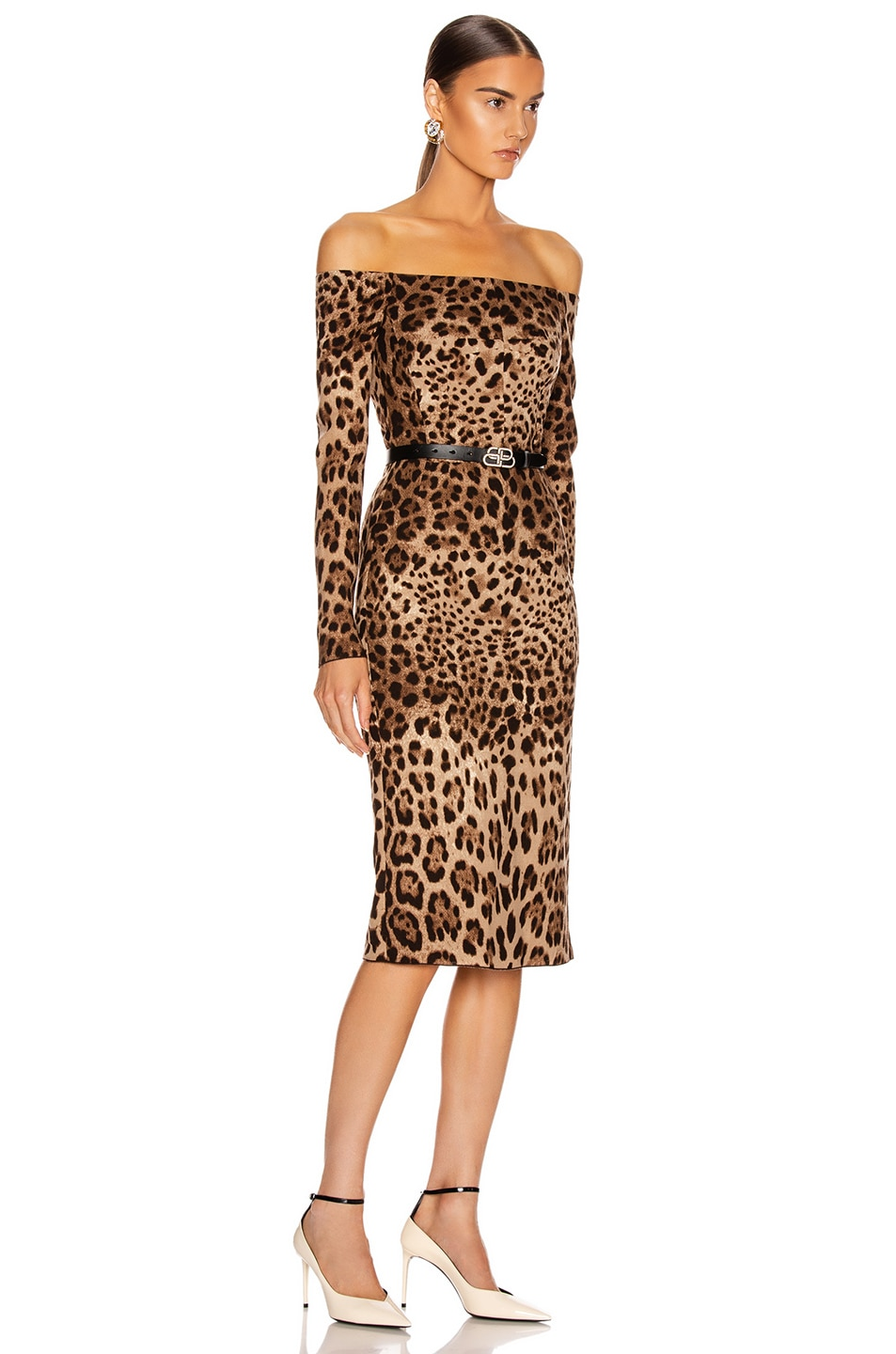 Image 2 of Dolce & Gabbana Off the Shoulder Print Midi Dress in Leopard