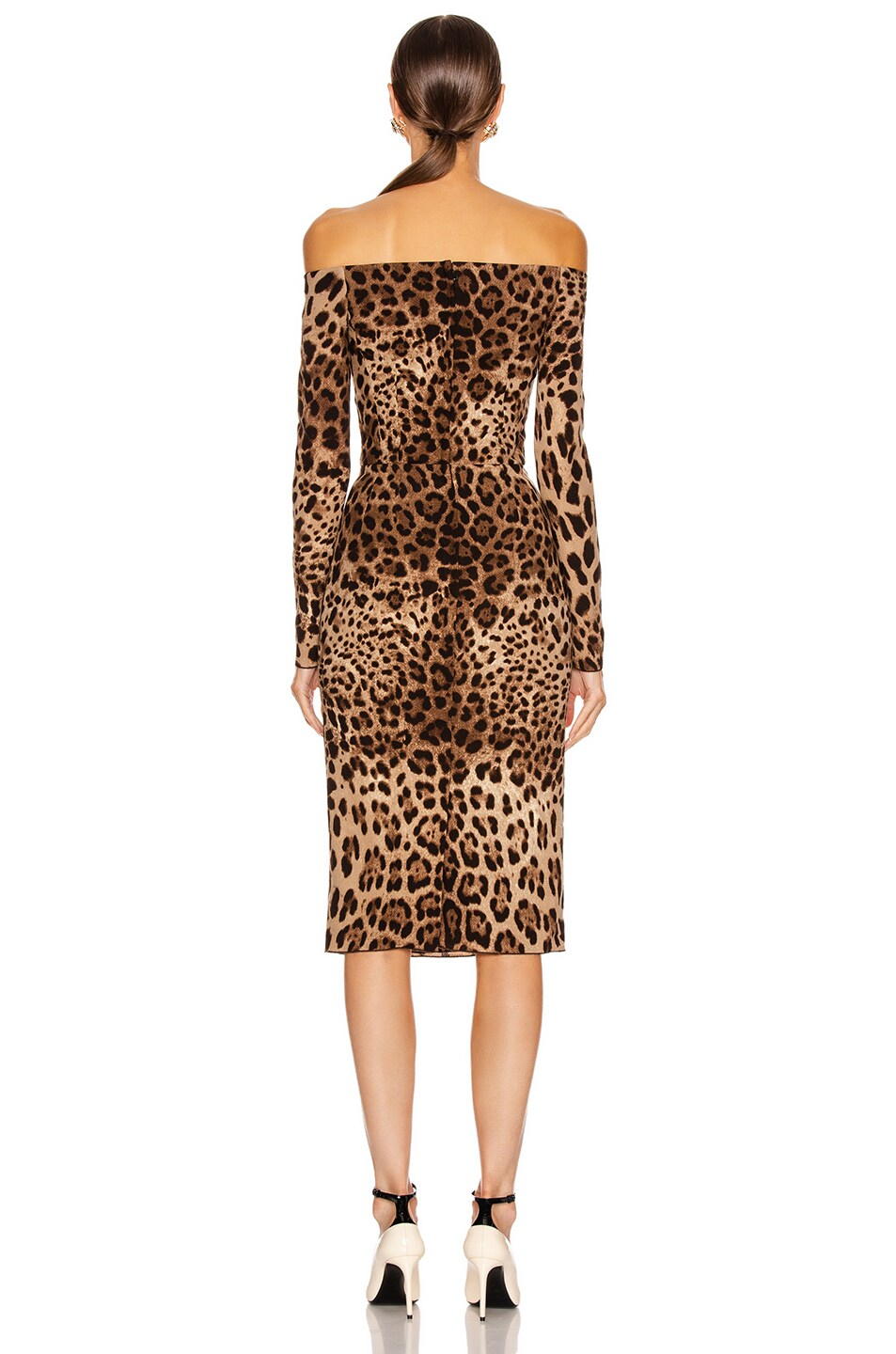 Image 3 of Dolce & Gabbana Off the Shoulder Print Midi Dress in Leopard
