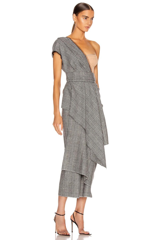 Image 2 of Dolce & Gabbana One Shoulder Bustier Asymmetrical Midi Dress in Grey