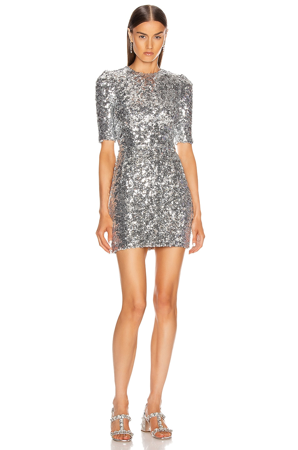 Image 1 of Dolce & Gabbana Sequin Mini Dress in Silver