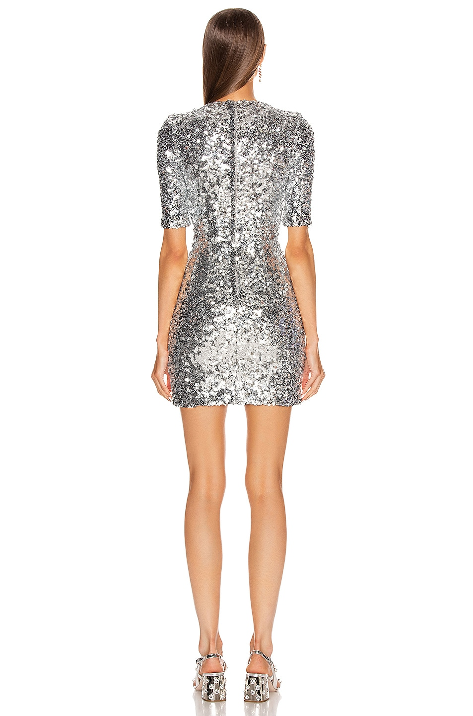 Image 3 of Dolce & Gabbana Sequin Mini Dress in Silver
