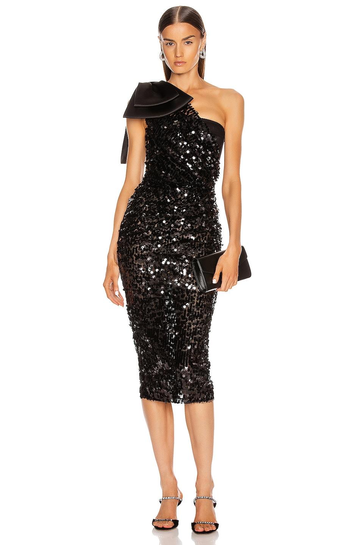 Image 1 of Dolce & Gabbana One Shoulder Midi Dress in Black