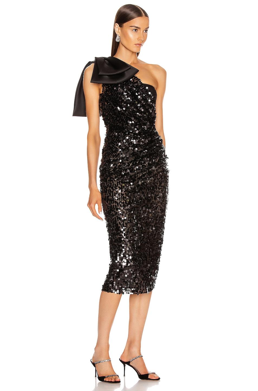 Image 2 of Dolce & Gabbana One Shoulder Midi Dress in Black
