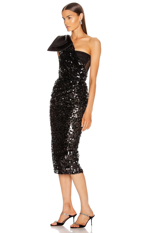 Image 3 of Dolce & Gabbana One Shoulder Midi Dress in Black