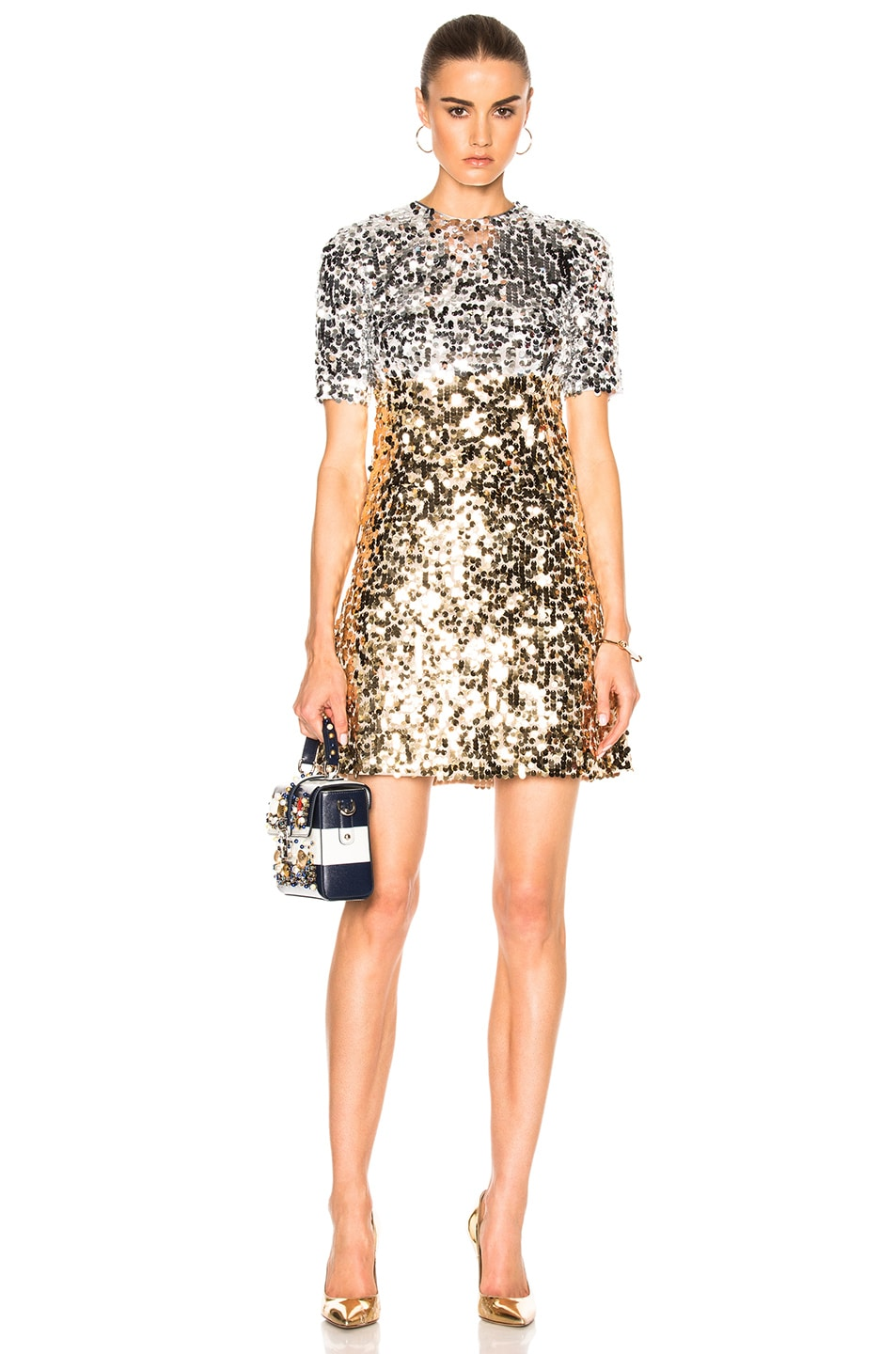 Image 1 Of Dolce Gabbana Paillettes Mini Dress In Silver Gold