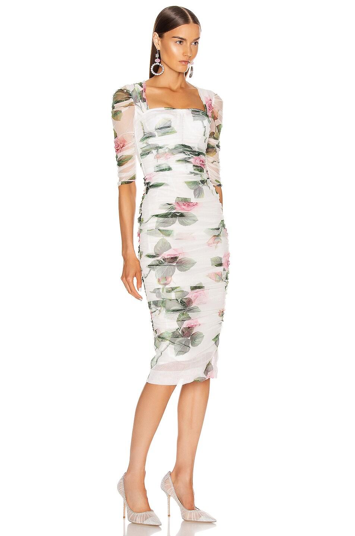 Image 2 of Dolce & Gabbana Floral Midi Dress in Rose