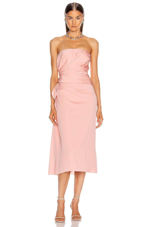 Image 1 of Dolce & Gabbana Strapless Midi Dress in Light Powder Rose