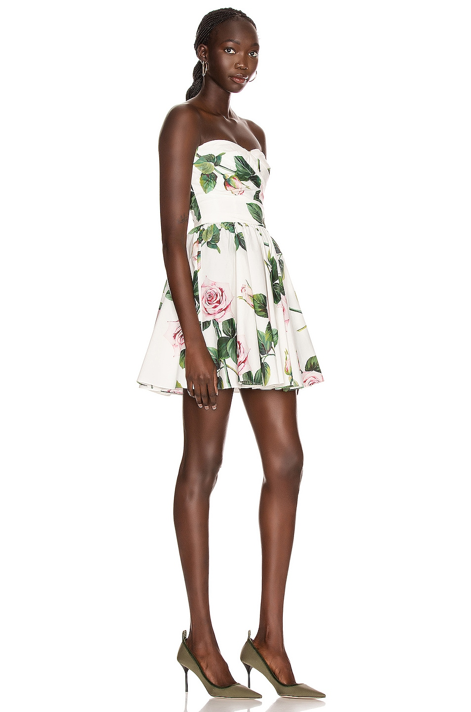 Image 2 of Dolce & Gabbana Strapless Floral Mini Dress in Rose
