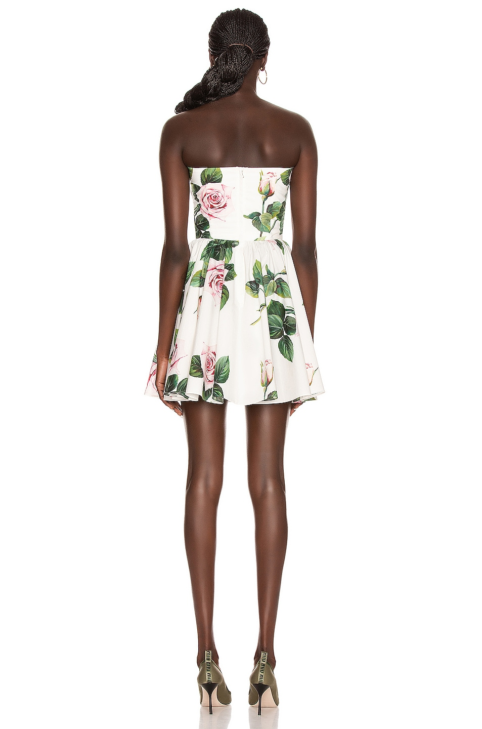 Image 3 of Dolce & Gabbana Strapless Floral Mini Dress in Rose