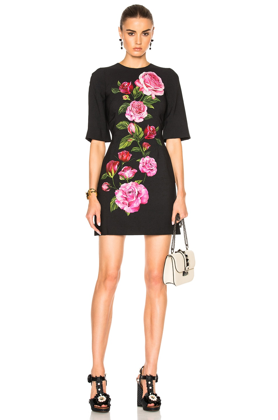 Image 1 of Dolce & Gabbana Cady Rose Print Mini Dress in Black