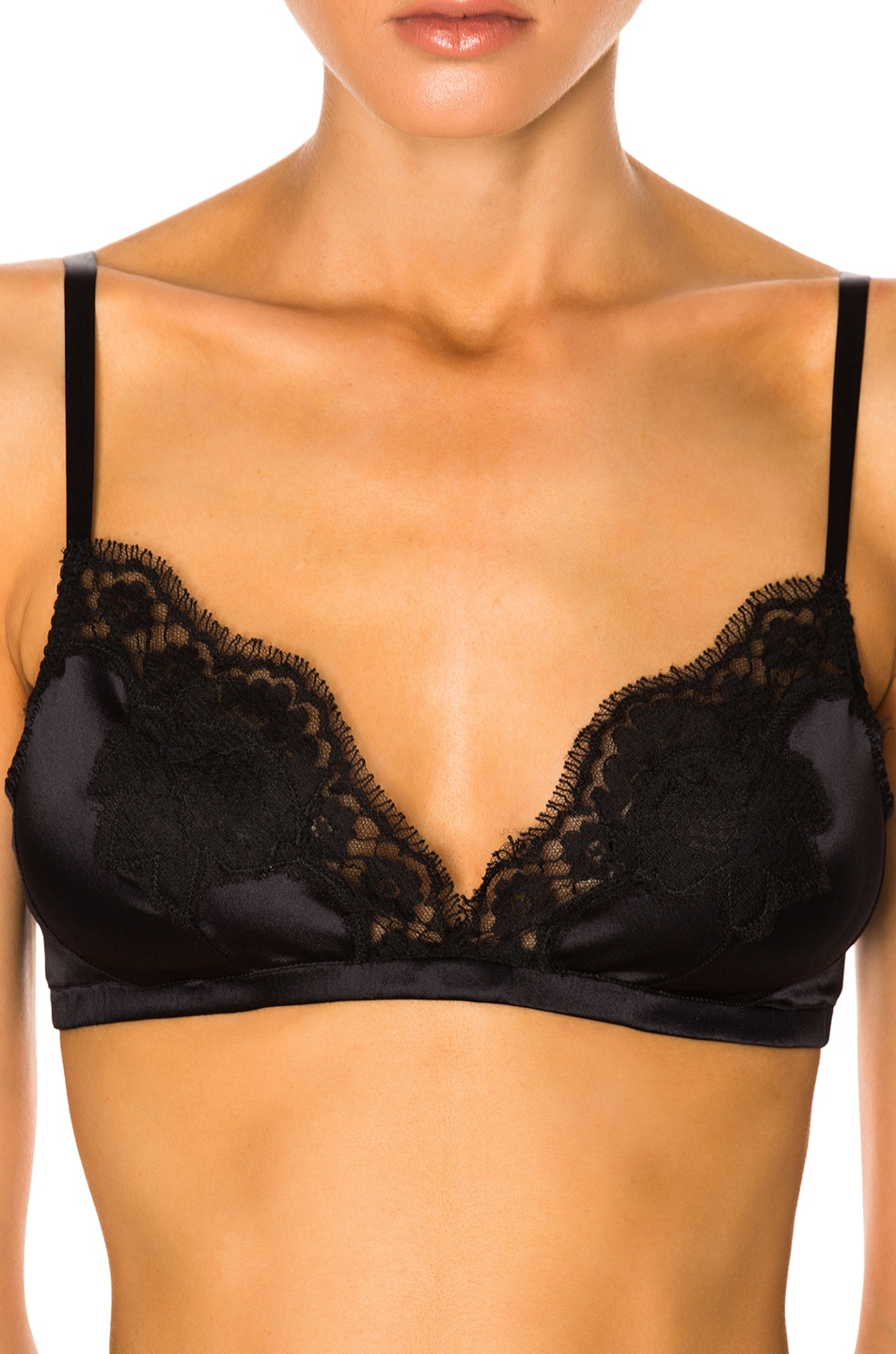 DOLCE & GABBANA LACE-TRIMMED SILK-BLEND TRIANGLE BRA, BLACK