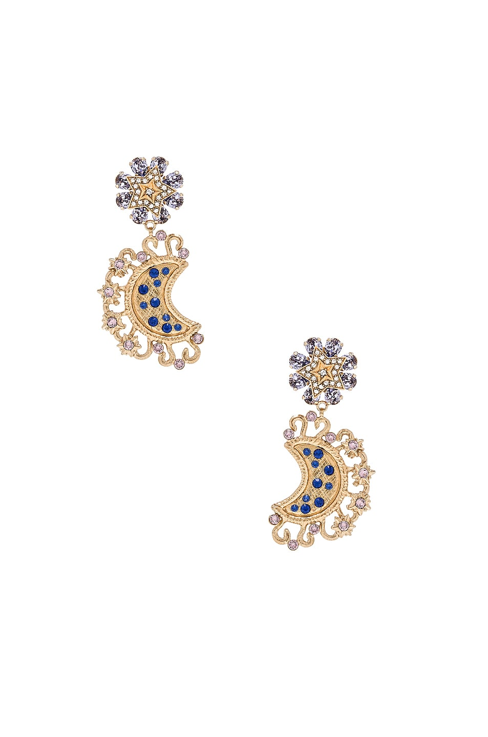 Image 1 of Dolce & Gabbana Crystal Lunar Earrings in Gold & Multicolor