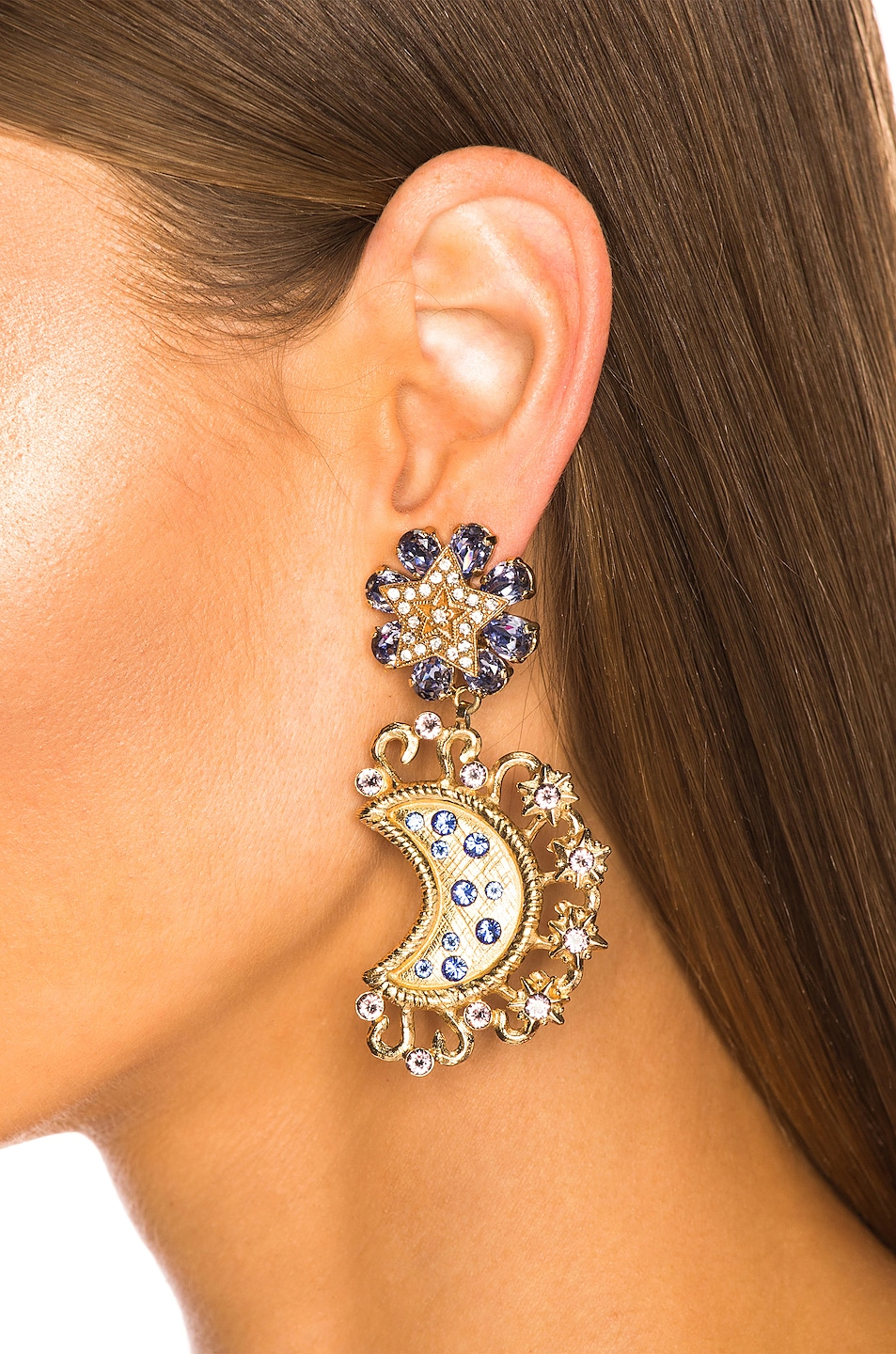 Image 2 of Dolce & Gabbana Crystal Lunar Earrings in Gold & Multicolor