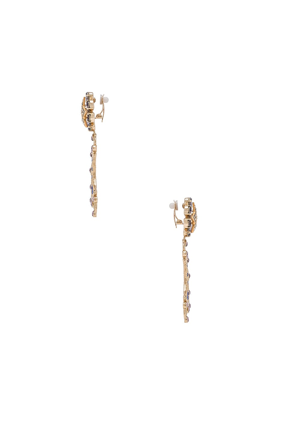 Image 3 of Dolce & Gabbana Crystal Lunar Earrings in Gold & Multicolor