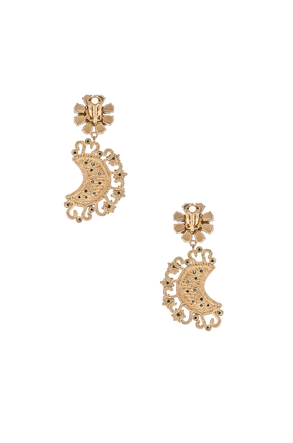 Image 4 of Dolce & Gabbana Crystal Lunar Earrings in Gold & Multicolor