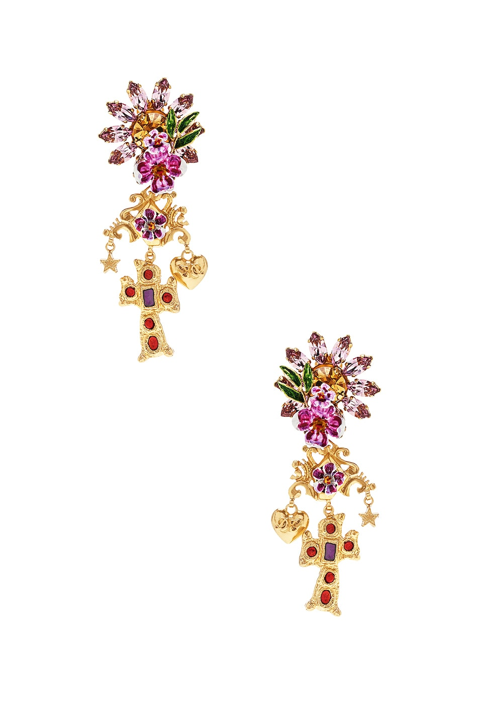 Image 1 of Dolce & Gabbana Crystal Sacred Heart Earrings in Gold & Multicolor