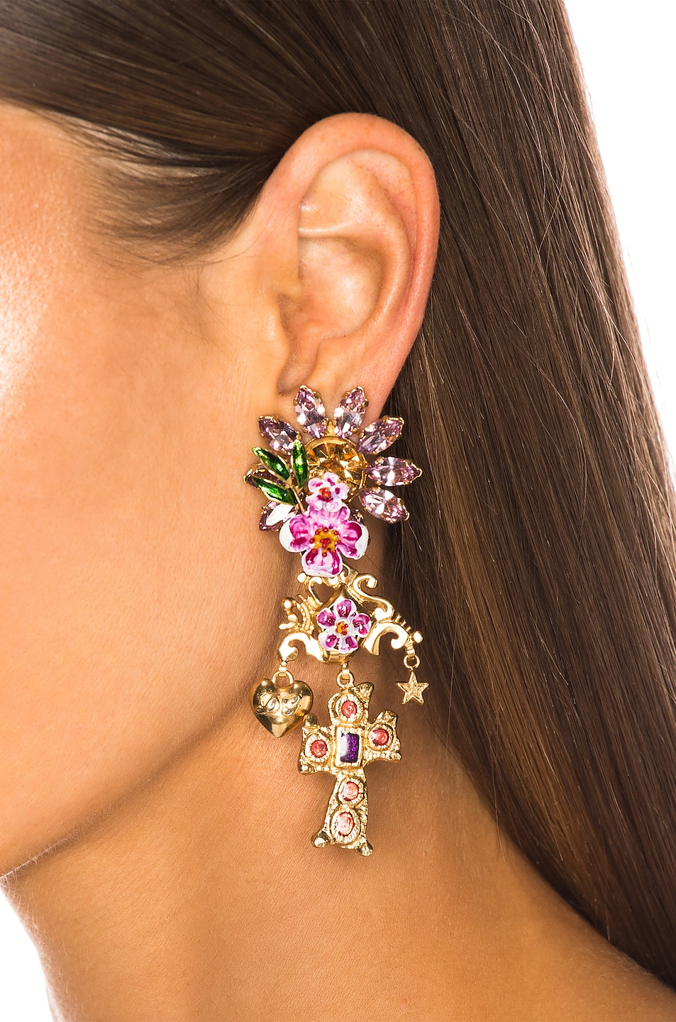 Image 2 of Dolce & Gabbana Crystal Sacred Heart Earrings in Gold & Multicolor