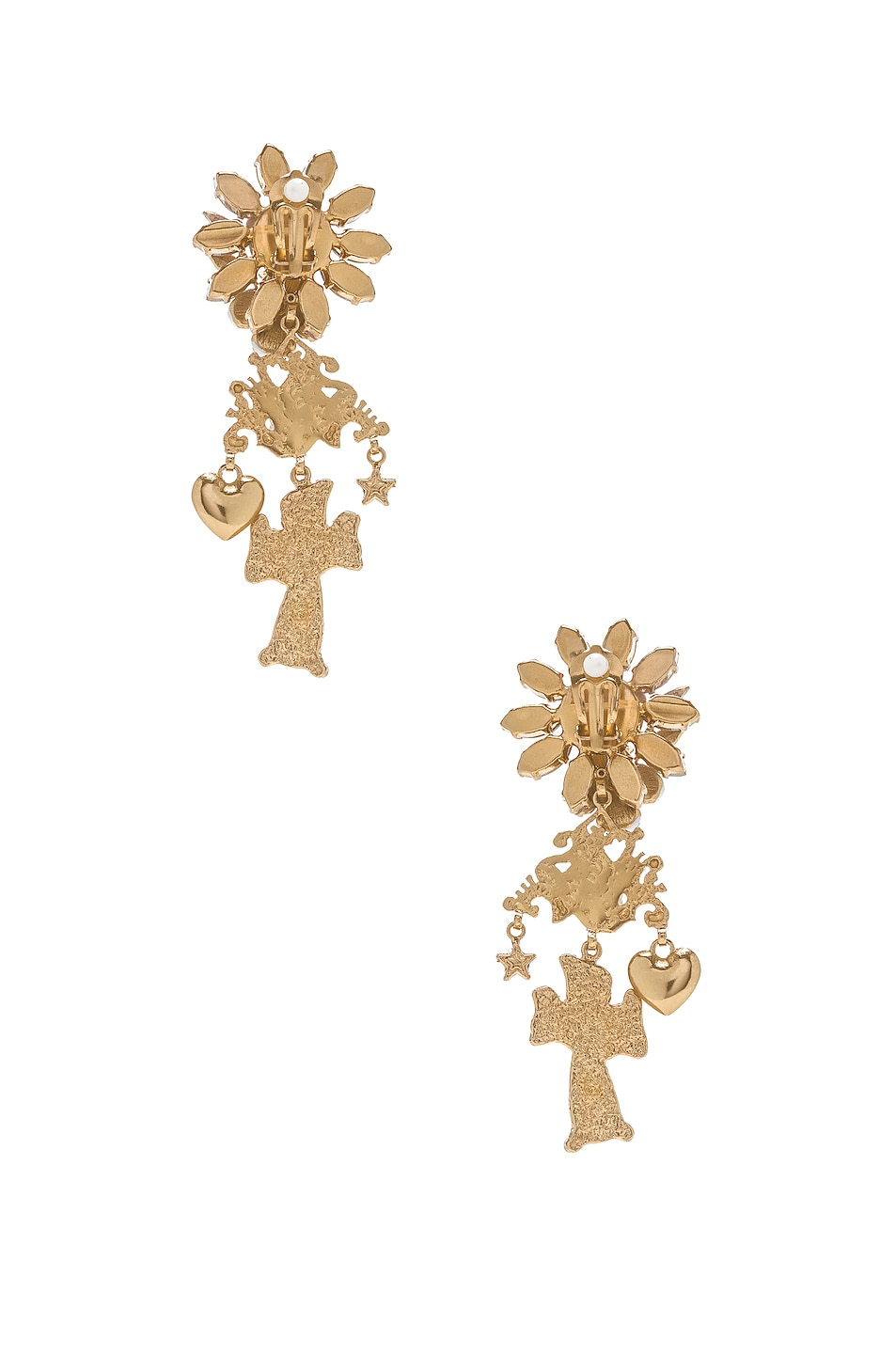 Image 4 of Dolce & Gabbana Crystal Sacred Heart Earrings in Gold & Multicolor