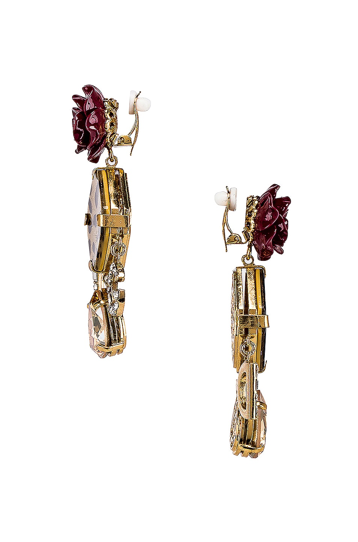 Image 3 of Dolce & Gabbana Leo & Roses Crystal Logo Earrings in Gold