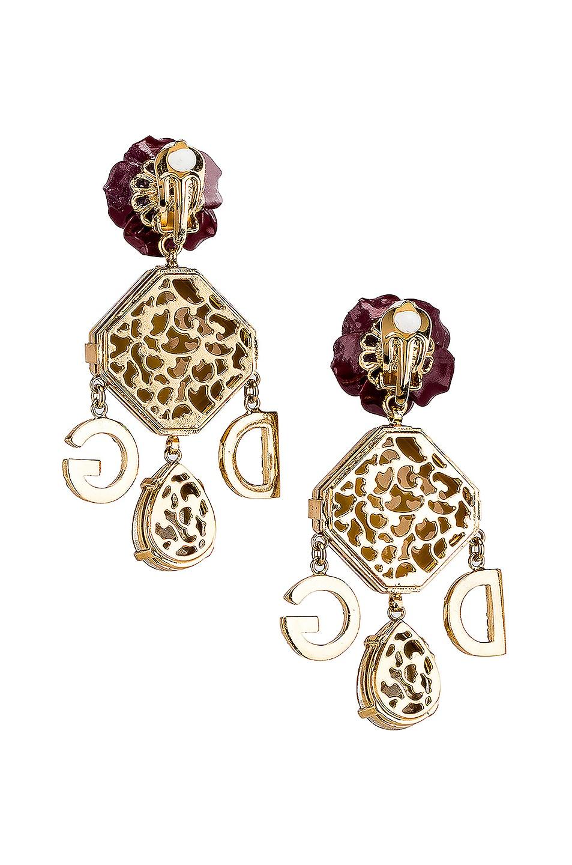Image 4 of Dolce & Gabbana Leo & Roses Crystal Logo Earrings in Gold