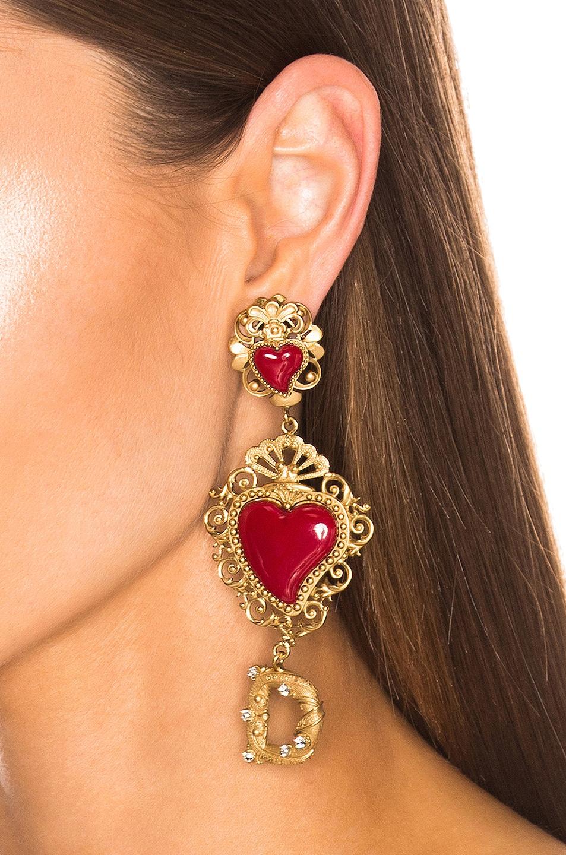 Image 2 of Dolce & Gabbana Double Hearts Logo Earrings in Red