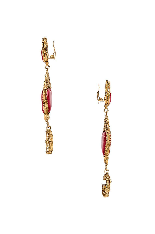 Image 3 of Dolce & Gabbana Double Hearts Logo Earrings in Red