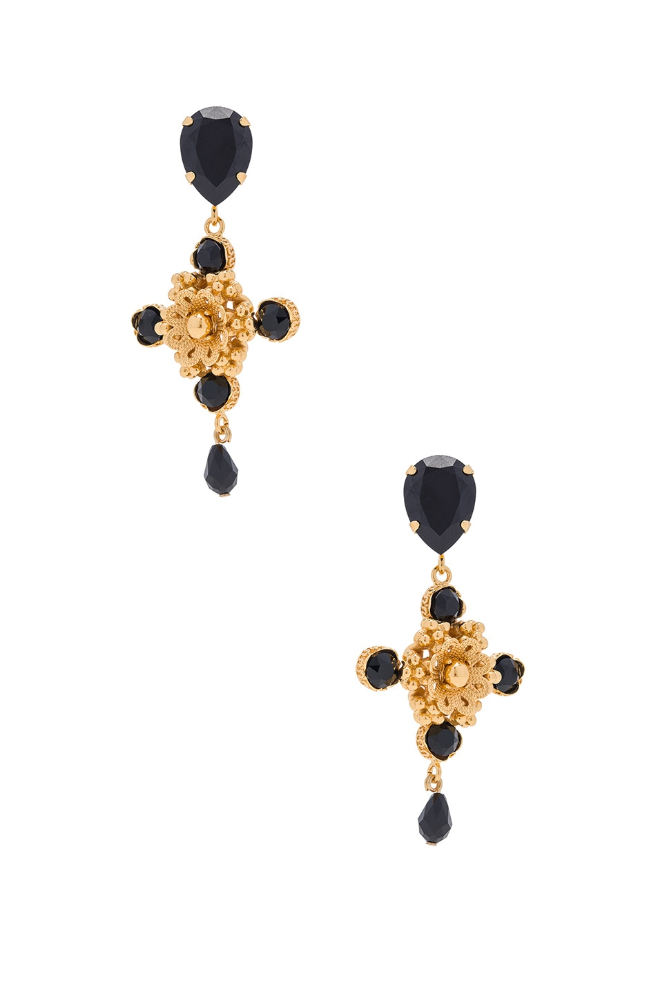 Image 1 of Dolce & Gabbana Cross Earrings in Gold & Black