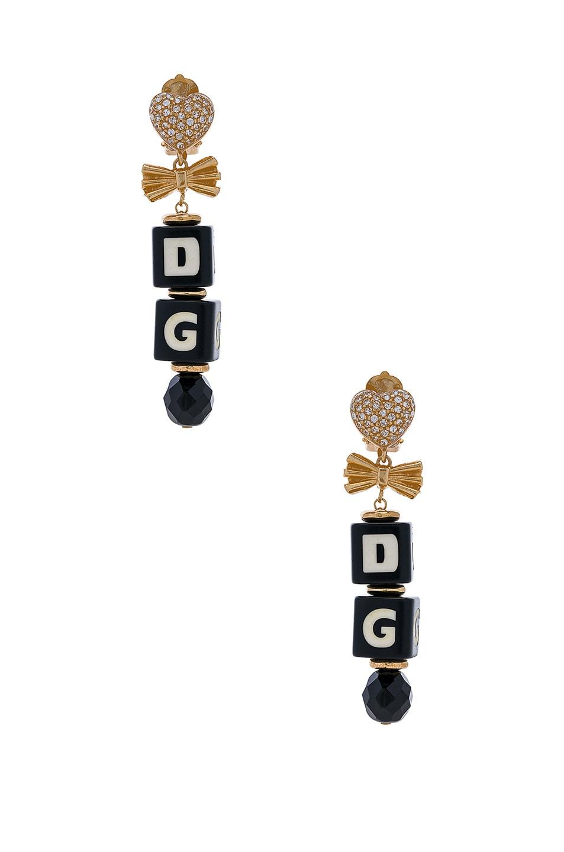 Image 1 of Dolce & Gabbana Cube Drop Earrings in Black & Gold
