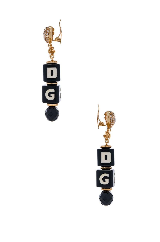 Image 2 of Dolce & Gabbana Cube Drop Earrings in Black & Gold