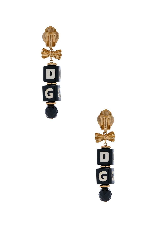 Image 3 of Dolce & Gabbana Cube Drop Earrings in Black & Gold