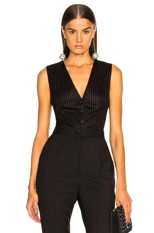 Image 1 of Dolce & Gabbana Pinstripe Wool Vest in Black & Pink
