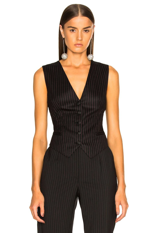 Image 2 of Dolce & Gabbana Pinstripe Wool Vest in Black & Pink