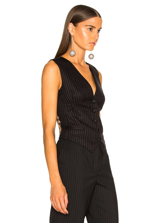 Image 3 of Dolce & Gabbana Pinstripe Wool Vest in Black & Pink