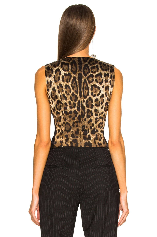 Image 4 of Dolce & Gabbana Pinstripe Wool Vest in Black & Pink