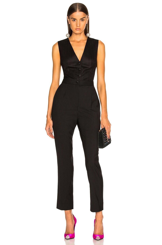Image 5 of Dolce & Gabbana Pinstripe Wool Vest in Black & Pink