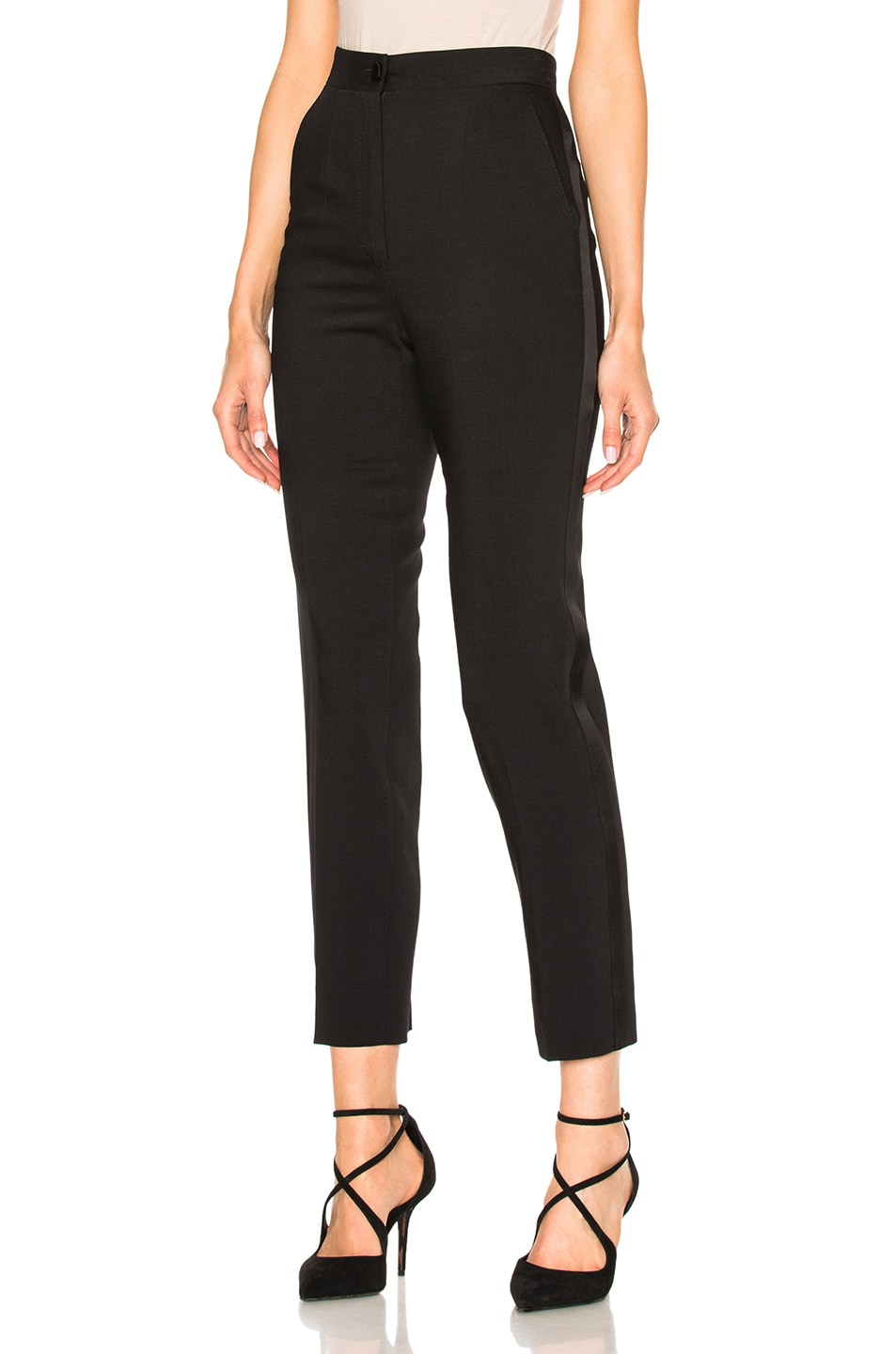 Image 1 of Dolce & Gabbana Wool Crepe Trousers in Black