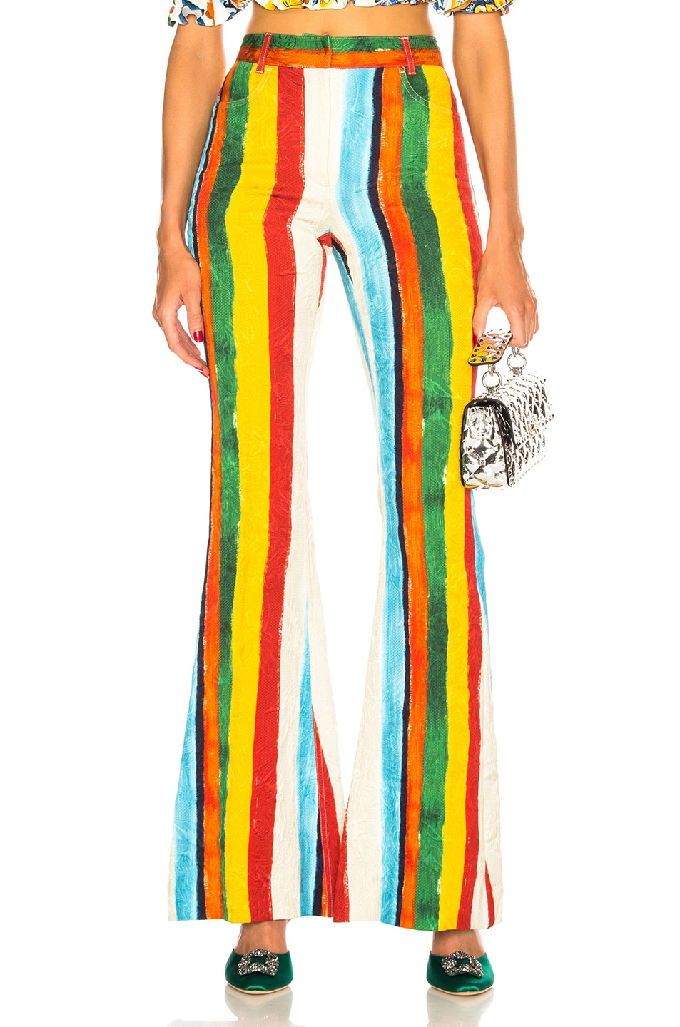 Image 1 of Dolce & Gabbana Rainbow Stripe Brocade Flared Trousers in Multicolor