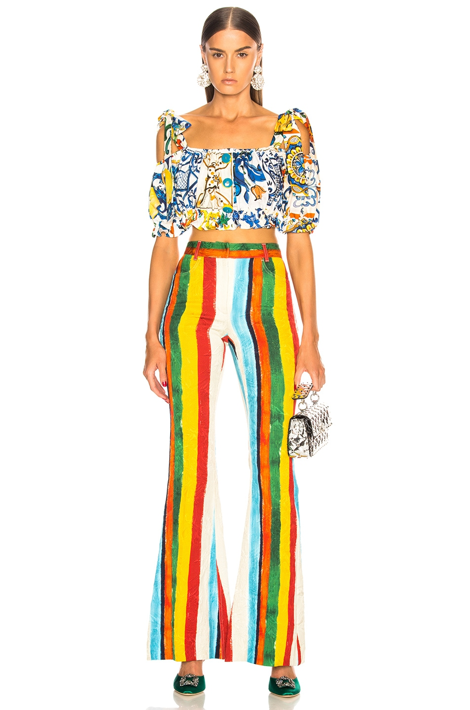 Image 4 of Dolce & Gabbana Rainbow Stripe Brocade Flared Trousers in Multicolor