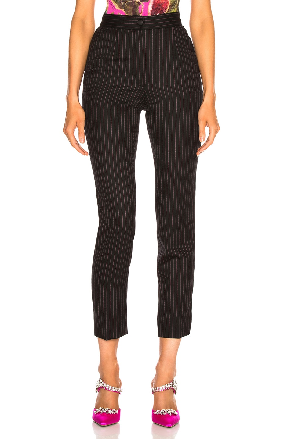 Image 1 of Dolce & Gabbana Pinstripe High Waisted Trousers in Black & Pink