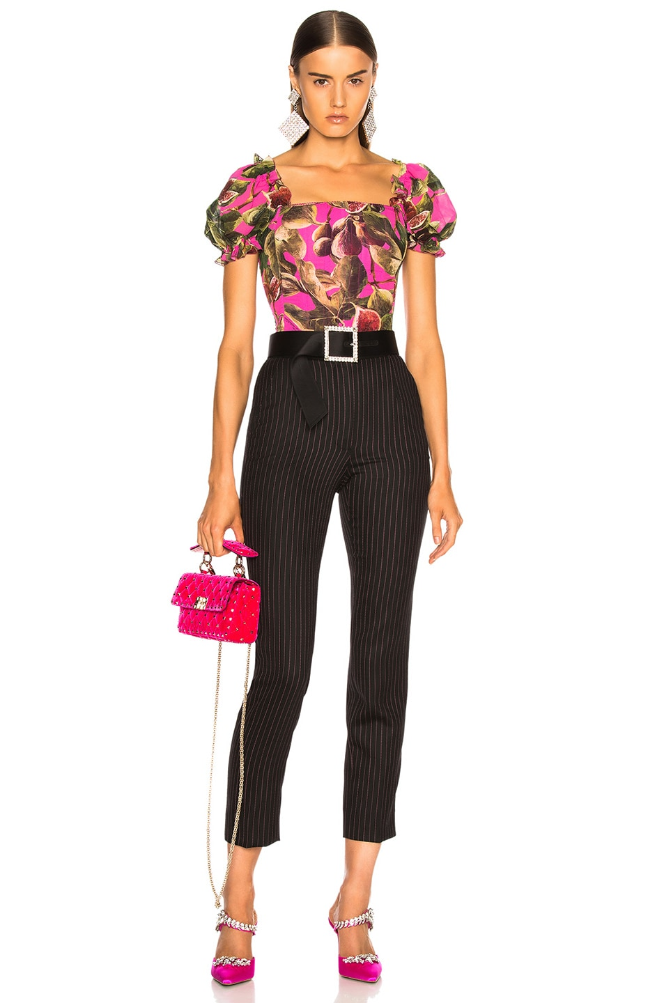 Image 4 of Dolce & Gabbana Pinstripe High Waisted Trousers in Black & Pink