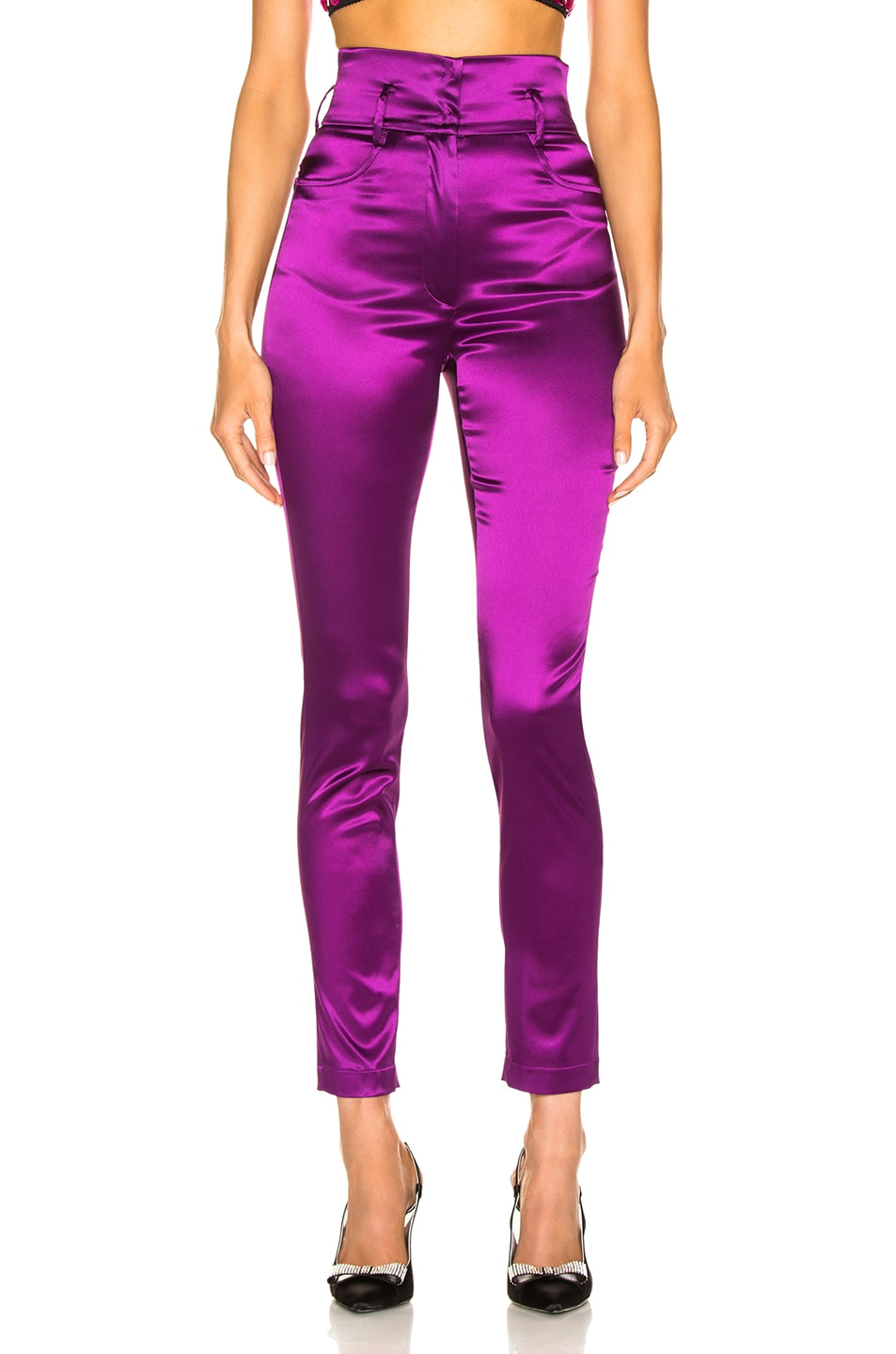 Image 1 of Dolce & Gabbana High Waisted Satin Pants in Magenta